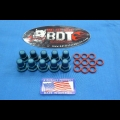 BDT MOTORSPORTS CYLINDER HEAD BILLET 8mm O-RINGED ACORN NUTS 10pk BLUE