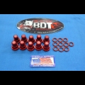 BDT MOTORSPORTS CYLINDER HEAD BILLET 8mm O-RINGED ACORN NUTS 10pk RED